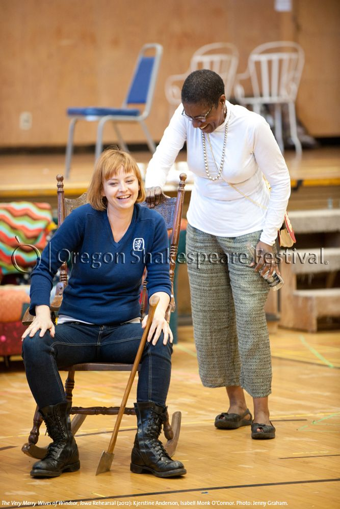 Oregon Shakespeare Festival. The Very Merry Wives of Windsor, Iowa Rehearsal (2012): Kjerstine Anderson, Isabell Monk O'Connor. Photo: Jenny Graham.