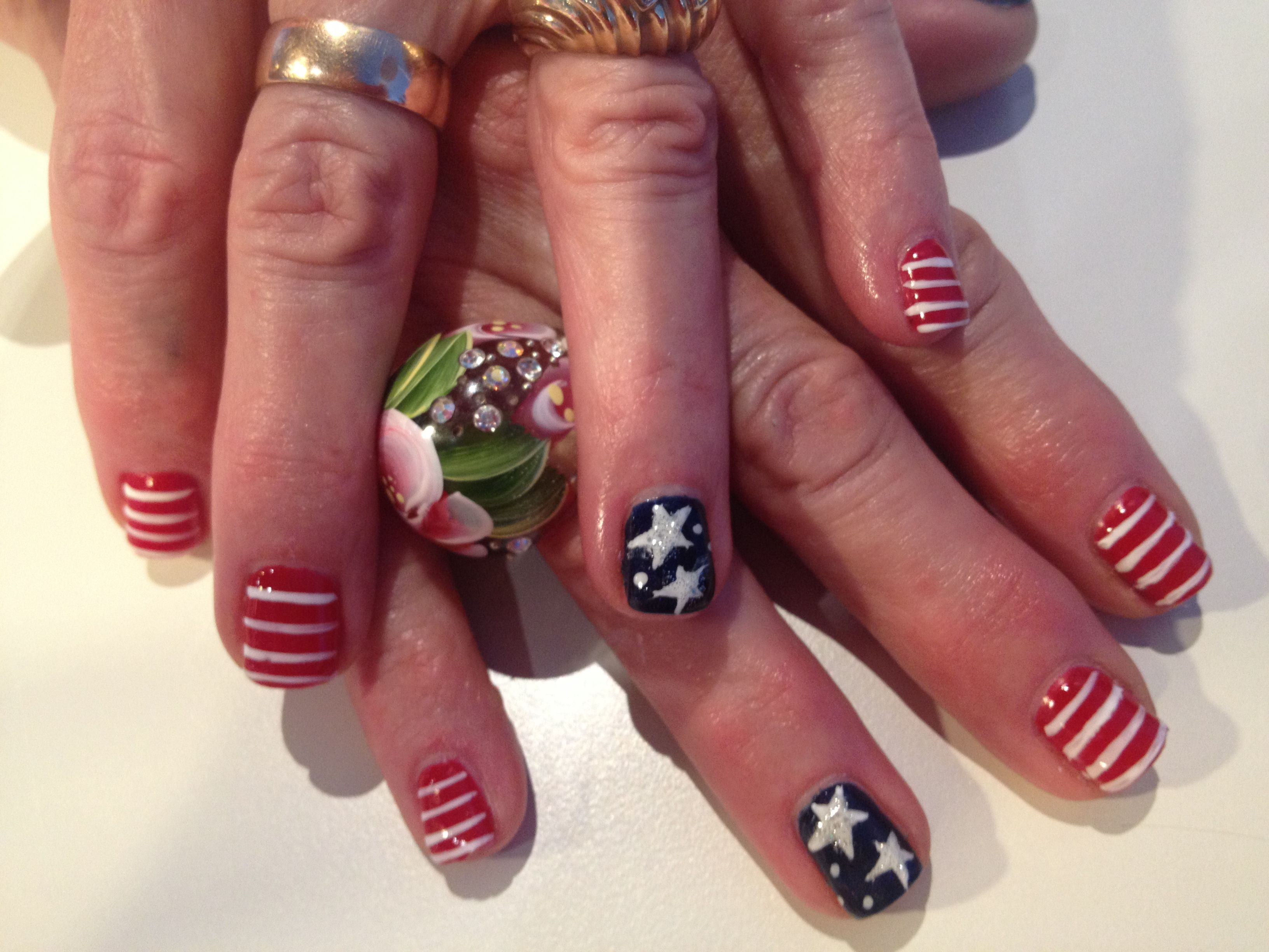 Fourth of July gel nail art by Erin Hart at The Nail Lounge in Costa ...
