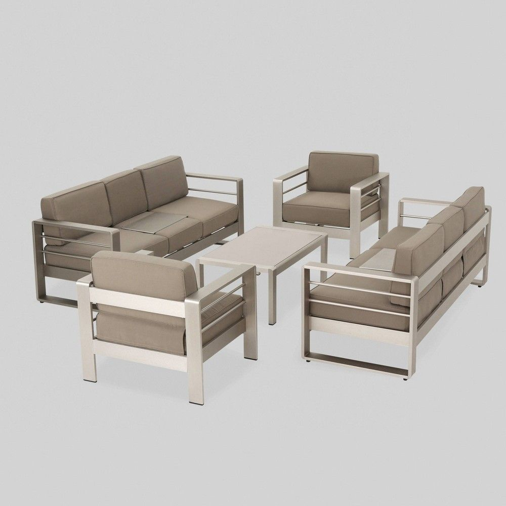 Cape Coral 5pc Aluminum Seating Set Khaki Christopher Knight Home Outdoor Furniture Sets Seating