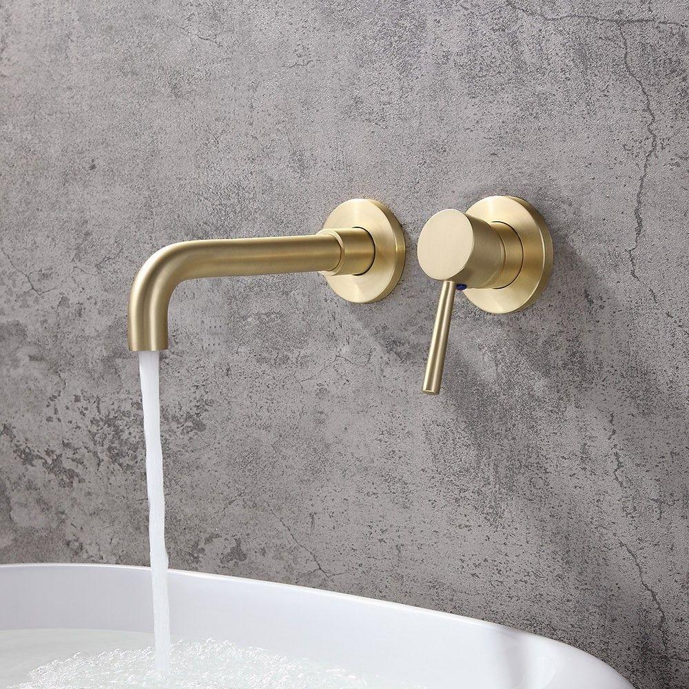 Brushed Brass Single Lever Wall Mounted Bathroom Mixer Tap Swivel Basin Tap Brass Bathroom Mixer Taps Wall Mount Faucet Bathroom Wall Mount Faucet