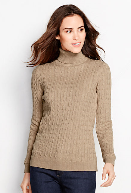 Women's Cotton Cable Turtleneck Sweater (Color: French Pecan ...