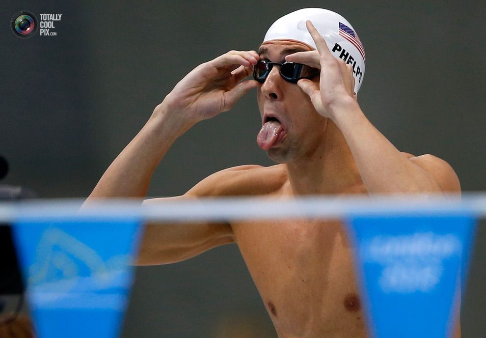 Swimmers like Michael Phelps all make weird faces... This