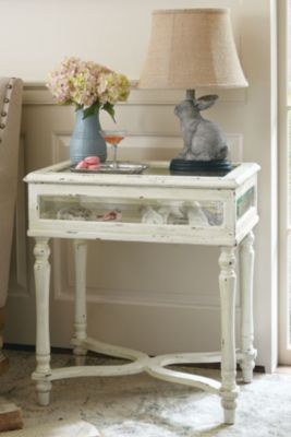 Collectoru0027s Vitrine Table   Glass Display Table, Distressed Ivory Painted  Table | Soft Surroundings