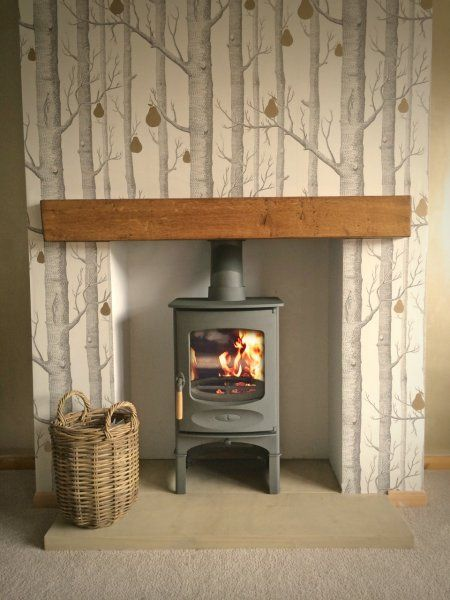 charnwood c four log store gun metal yorkshire stone hearth oak fireplace. Black Bedroom Furniture Sets. Home Design Ideas