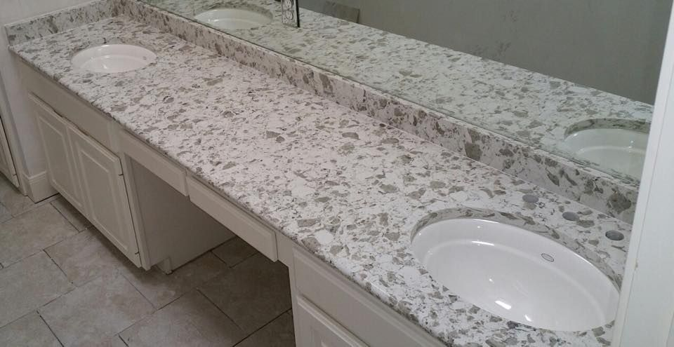 Alaska White Vicostone Quartz Countertop Bathroom