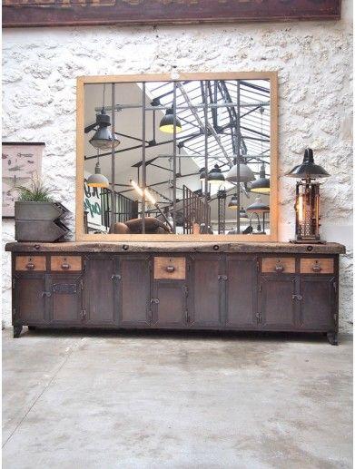Table Industrielle Metallique Rivetee 1900 Buffet Industriel Mobilier De Salon Et Relooking Meuble