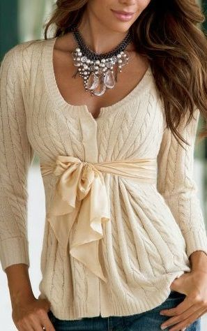 beige sweater with front bow