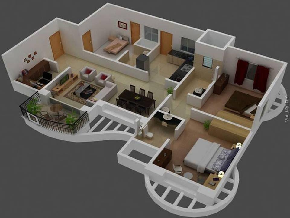 Dekorasi Rumah Minimalist 50 Denah Rumah Minimalis 3d 3 Kamar Tidur 2 Lantai Dan 2 Kamar Tidur Denah Rumah Desain Rumah Denah Lantai Rumah