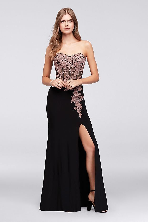 Lace Applique Corset Bodice Jersey Sheath Pink And Black Prom Dress