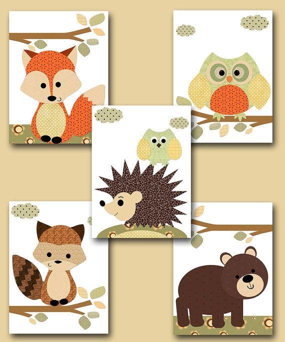 Fox Nursery Owl Nursery Baby Boy Nursery Art Nursery wall art baby ...