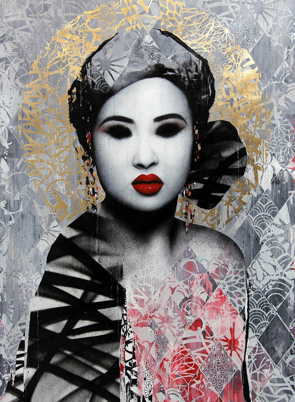 Some beautiful artwork by the street artist HUSH from his show at Corey Helford gallery in downtown Los Angeles.  This is a mixed media piece consisting of spray paint, acrylic, stencil and good old fashioned tags.