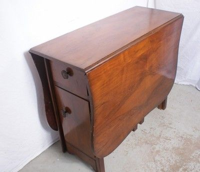 Awesome Style Antique Walnut English Drop Leaf Table W Storage Cabinet 5 X  3 Ft |
