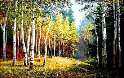 (North Korea) Schmidt Birch Woods  in the Autumn by Bak Young-cheol (1971-  ). 박달나무.