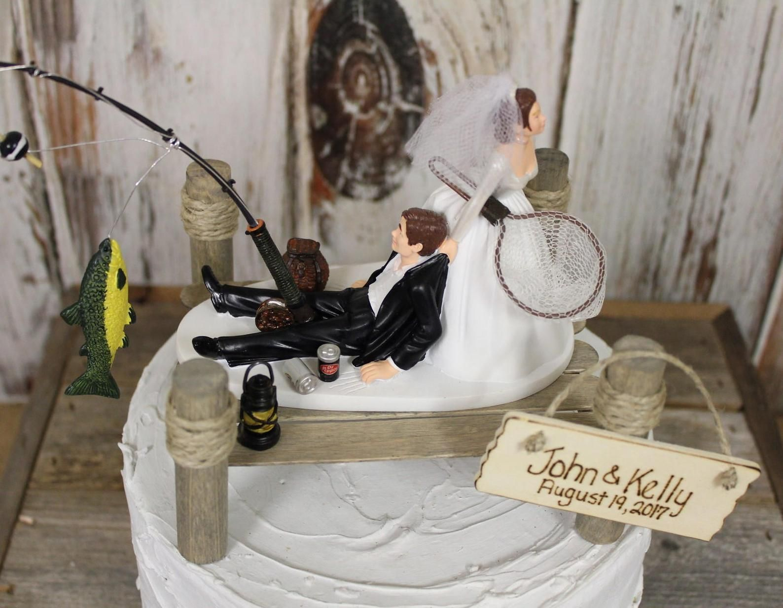 Fishing wedding cake topper grooms hunting cake topper