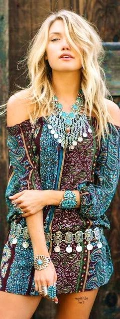#boho #fashion #spring #outfitideas American Hippie Off The Shoulder Dress  Jewelry Style  - more on http://ift.tt/2rynWxj