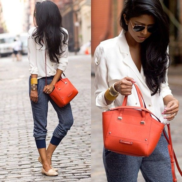 .Cute way to use sweatpants in an outfit but still look presentable.