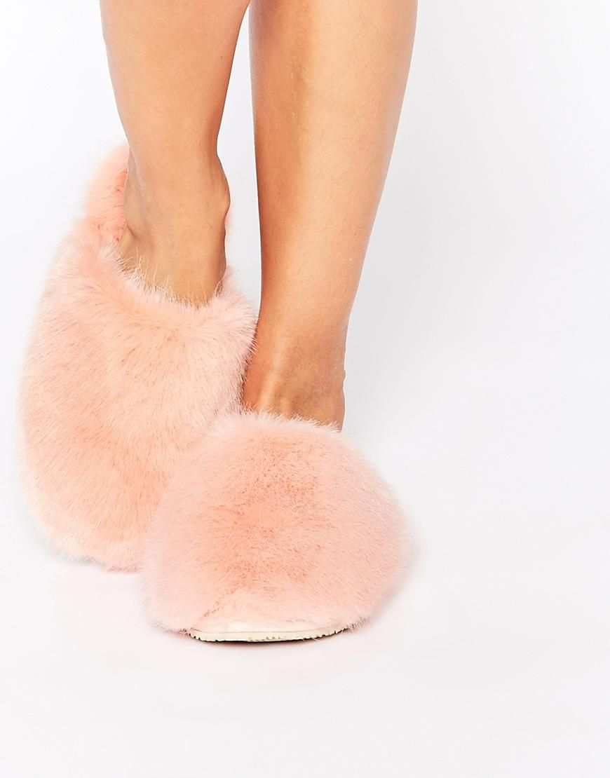 Ted Baker Breae Pink Faux Fur Slippers At Asos Com Fur Slippers Faux Fur Slippers Pink Faux Fur