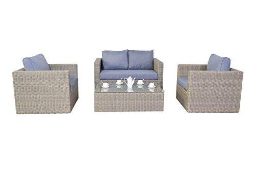 Rural Rattan Garden Furniture Small Sofa Set