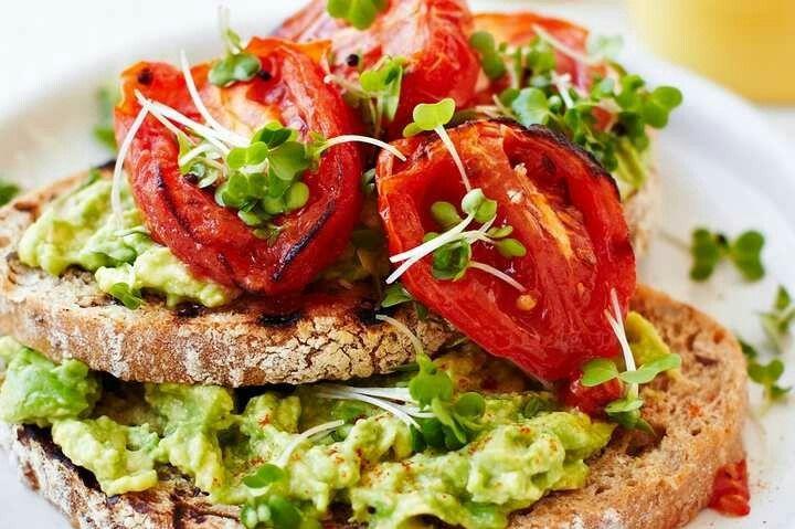 Roast tomatoes and avocado on toast