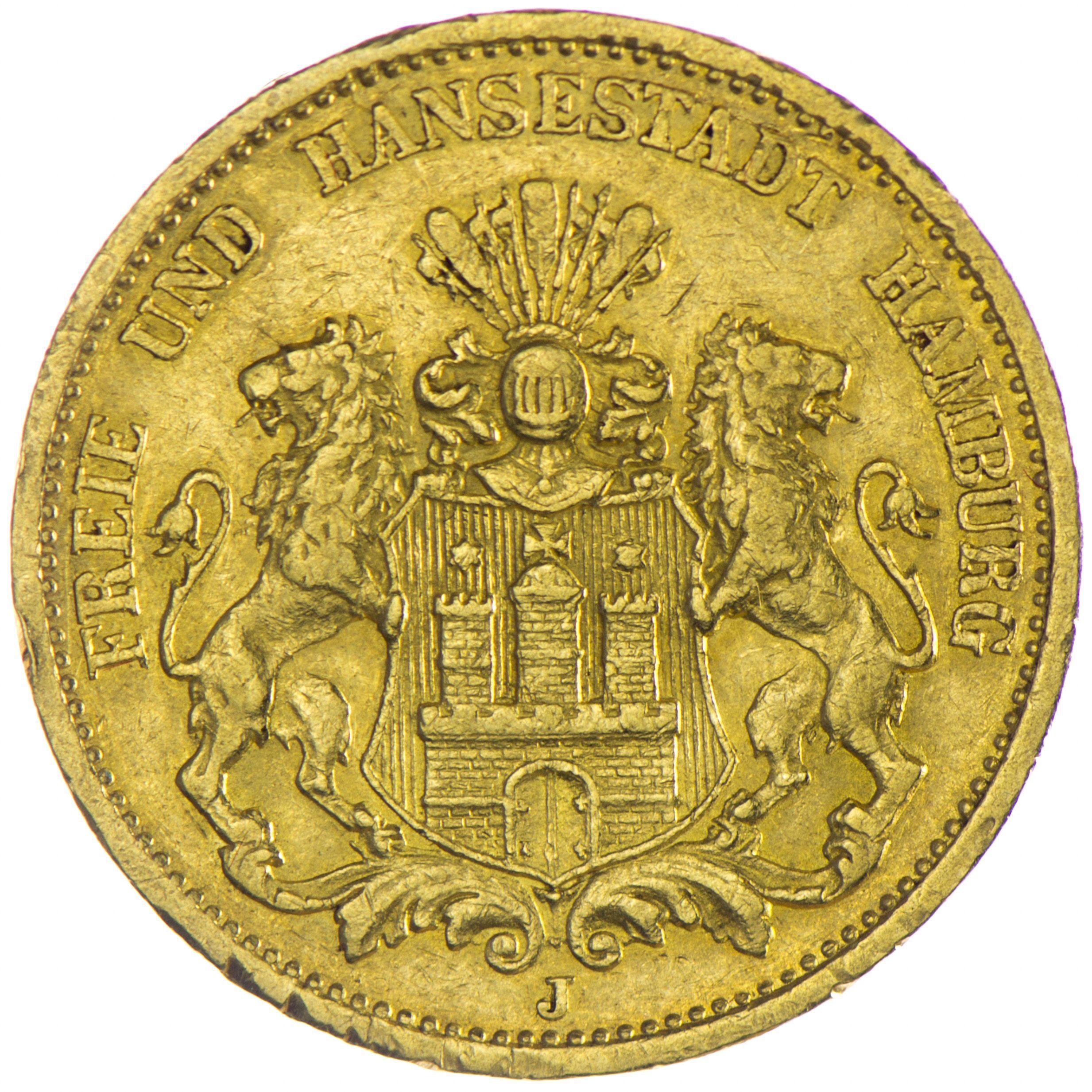 Hamburg 20 Mark 1878 J Gold Gold and silver coins, Gold