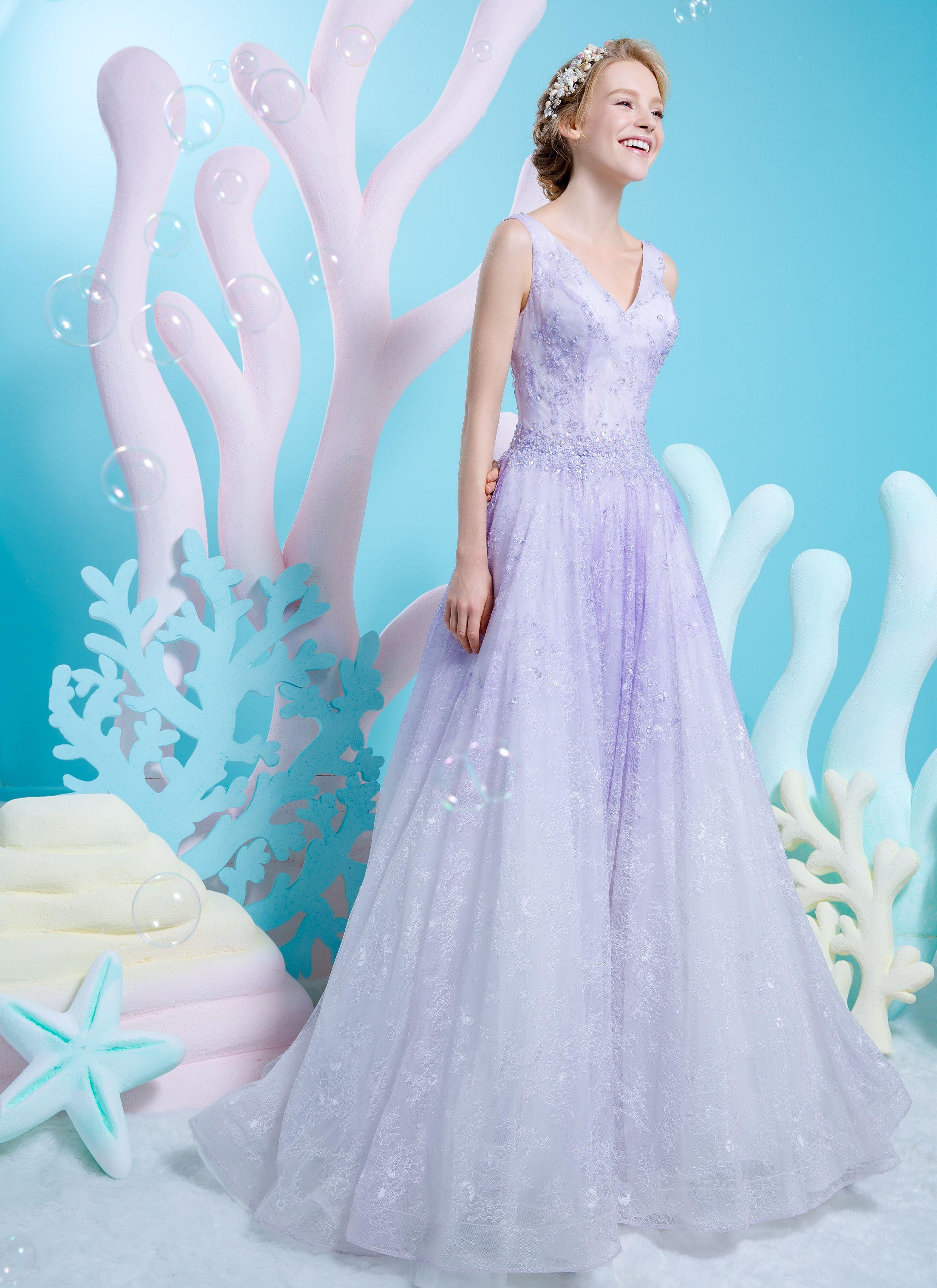 Pastel purple V-neck soft lace A-line dress | Wedding Dresses ...