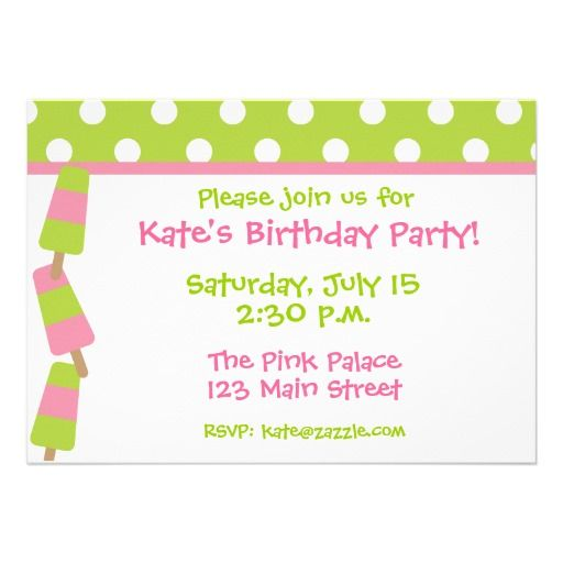 Pink and Green Polka Dot Popsicle Invitations. Fun for a summer party or birthday party. www.gem-ann.com (Zazzle store)