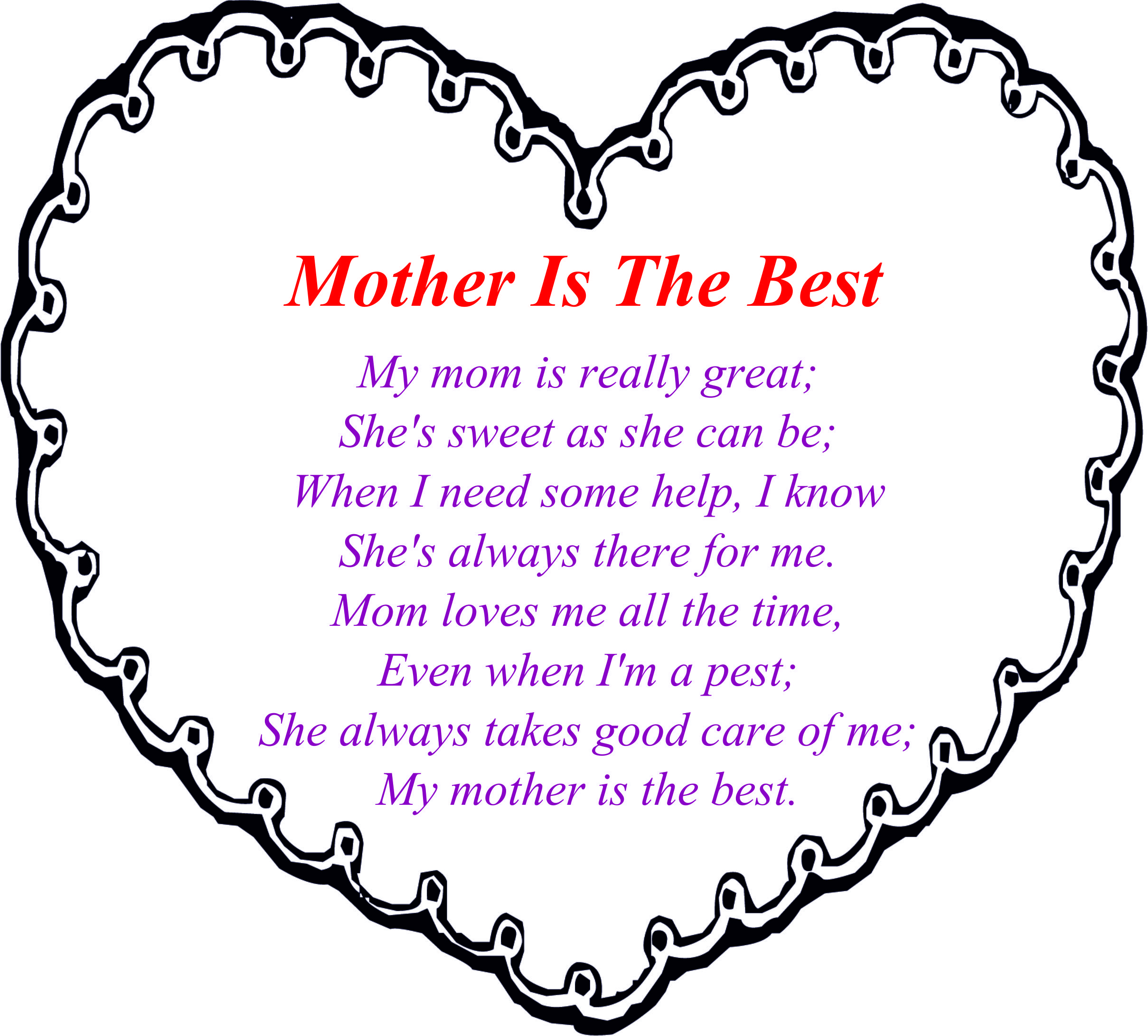Impressive Mothers Day Poems For Kids Cute From Children Coloring