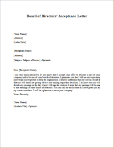 Board Of Directors Acceptance Letter Download At Http