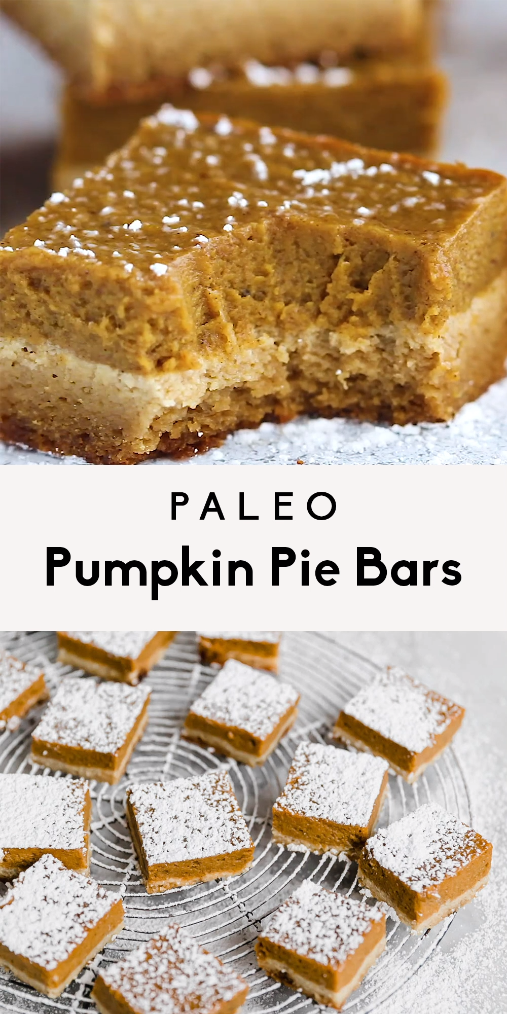 Photo of Paleo Pumpkin Pie Bars with Almond Flour Sugar Cookie Crust