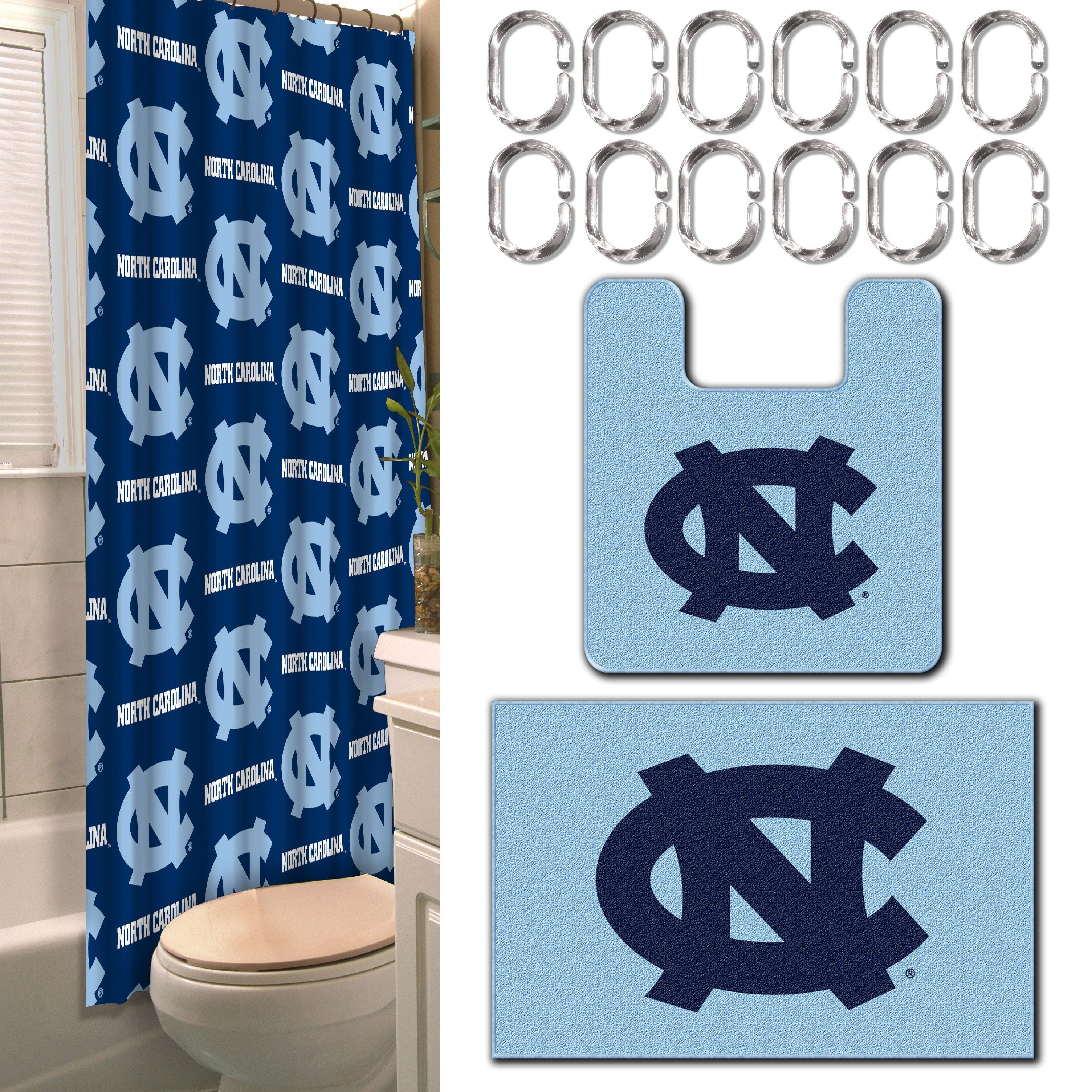 UNC Collegiate 15 Piece Bath Set 12 2 Shower Curtain Rings 1 72x 72 Mats