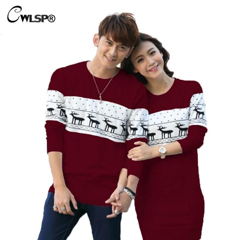 Beste Geschenk für Valentinstag Liebhaber Cartoon gestrickte Paare Pullover Frühling frauen Pullover Kleid Hirsch Pullover Plus Größe ZLY049
