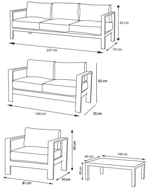 Salon de jardin - Orolo - 3 places + 2 places + fauteuil + table ...