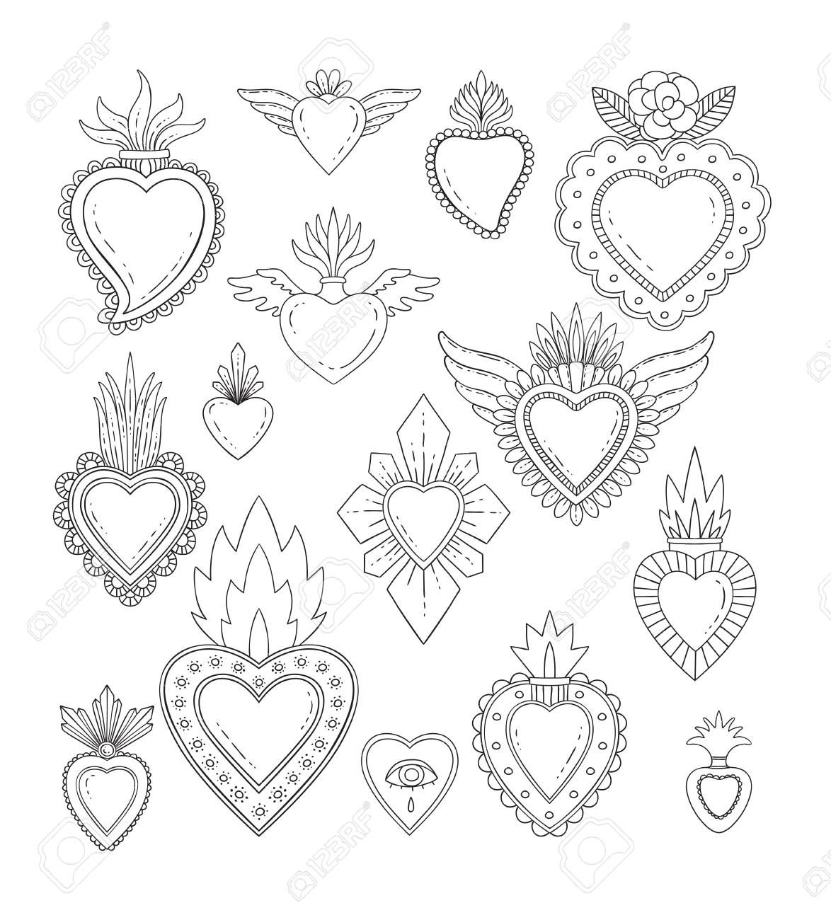 Sacred mexican heart set Stock Vector - 93336356