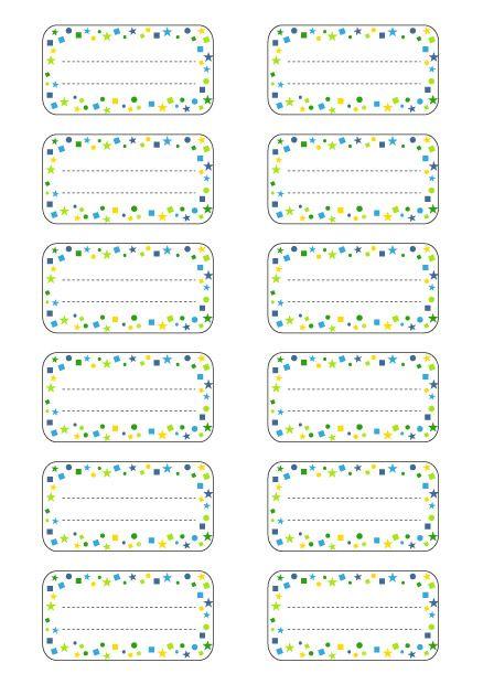 Etiquettes écoles à Imprimer Modèle étoiles Bleu Vert Etiquette Ecole étiquette Cahier étiquettes Scolaires