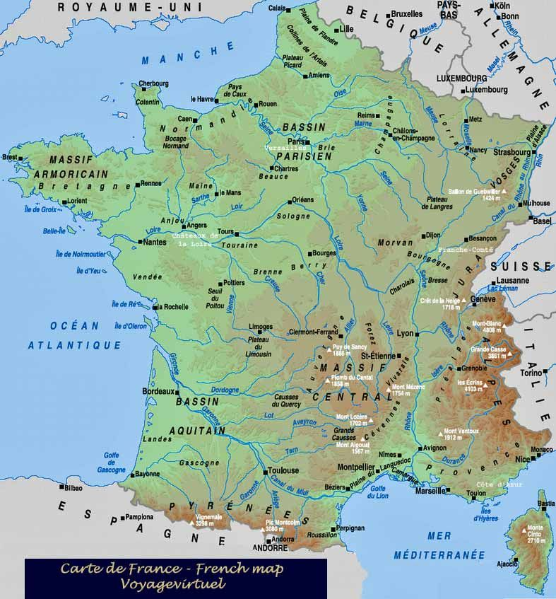 French Map Carte France France Map France Geography France
