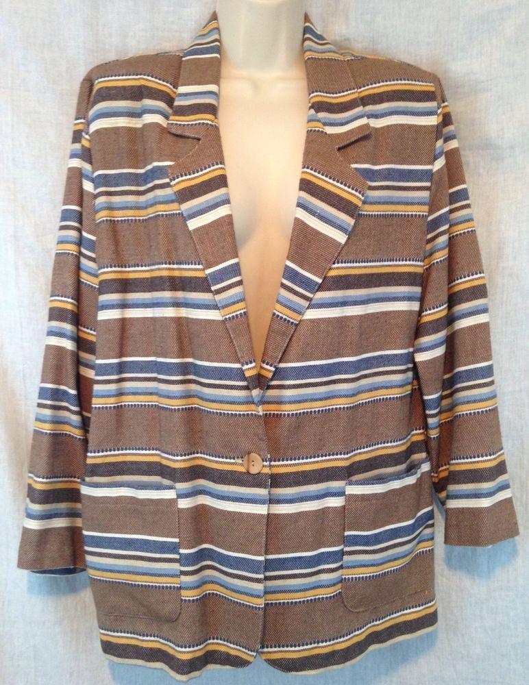 Vintage Tracy Evans Ltd USA Brown Blue Stripe One Button 2 Pocket Medium Blazer #TracyEvans #Blazer