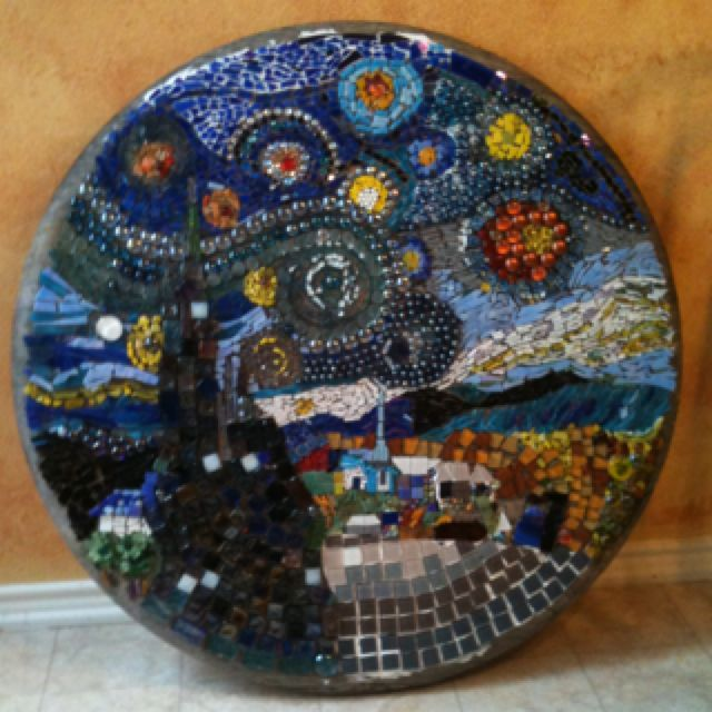 "Mosaic table of Vincent Van Gogh's ""Starry Night"" almost finished."