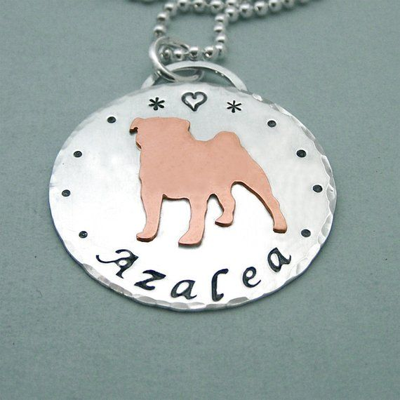 Personalized Pug Necklace Sterling Silver And Copper Multum In