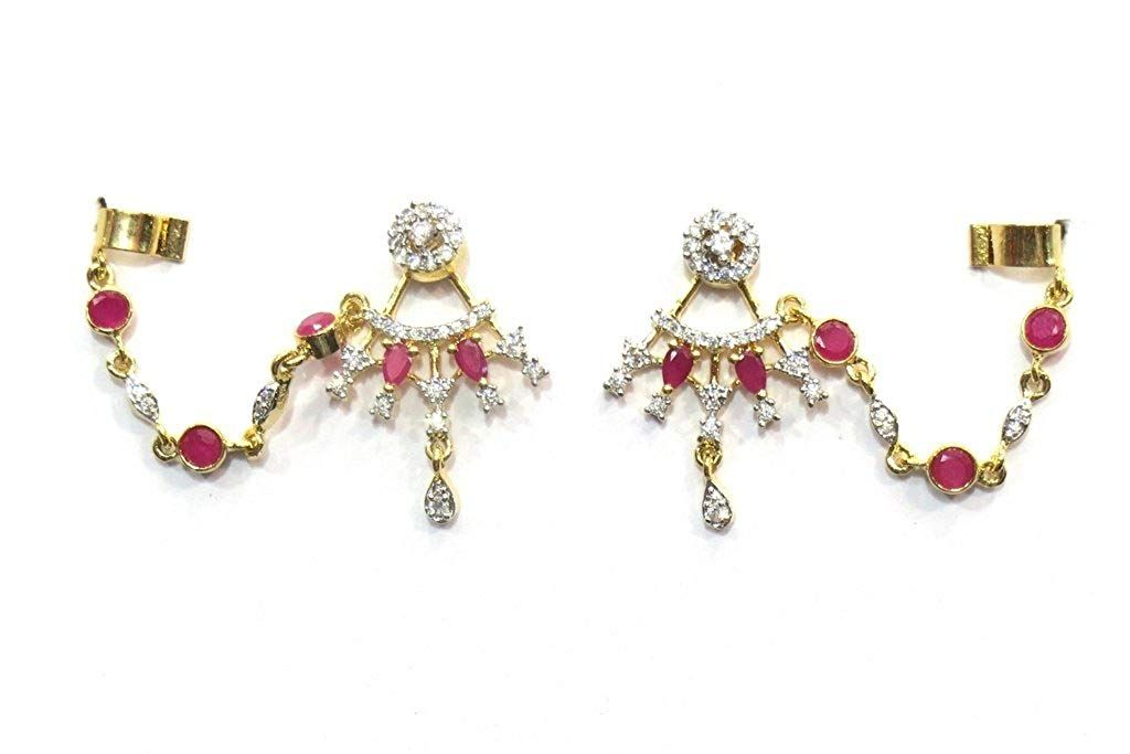 3809d6eb7 Jewelshingar Jewellery Gold Plated Cubic Zirconia Earcuffs Earrings For  Women ( 17766-ec-ruby ) * Thanks a lot for seeing our photograph.