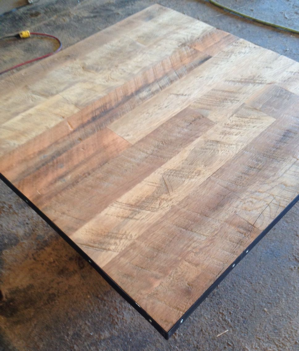 Reclaimed Wood Restaurant Table Top | Unfinished Wire Brushed Oak