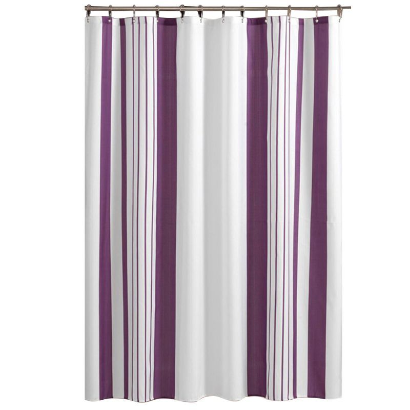 Elegant Purple And White Vertical Striped Bathroom Shower Curtain Polyester Affiliate