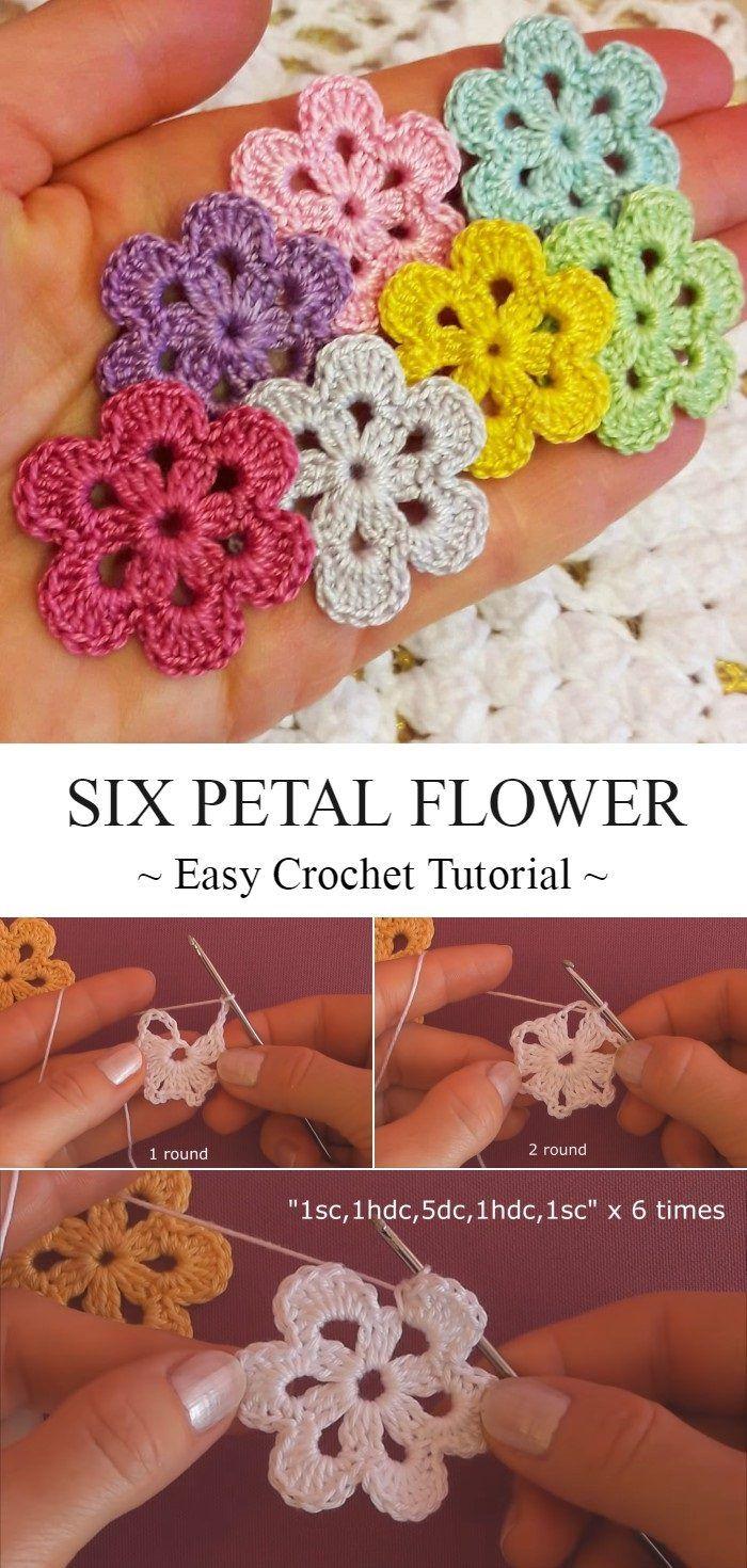 Six Petal Crochet Flower Tutorial #crochetflowerpatterns