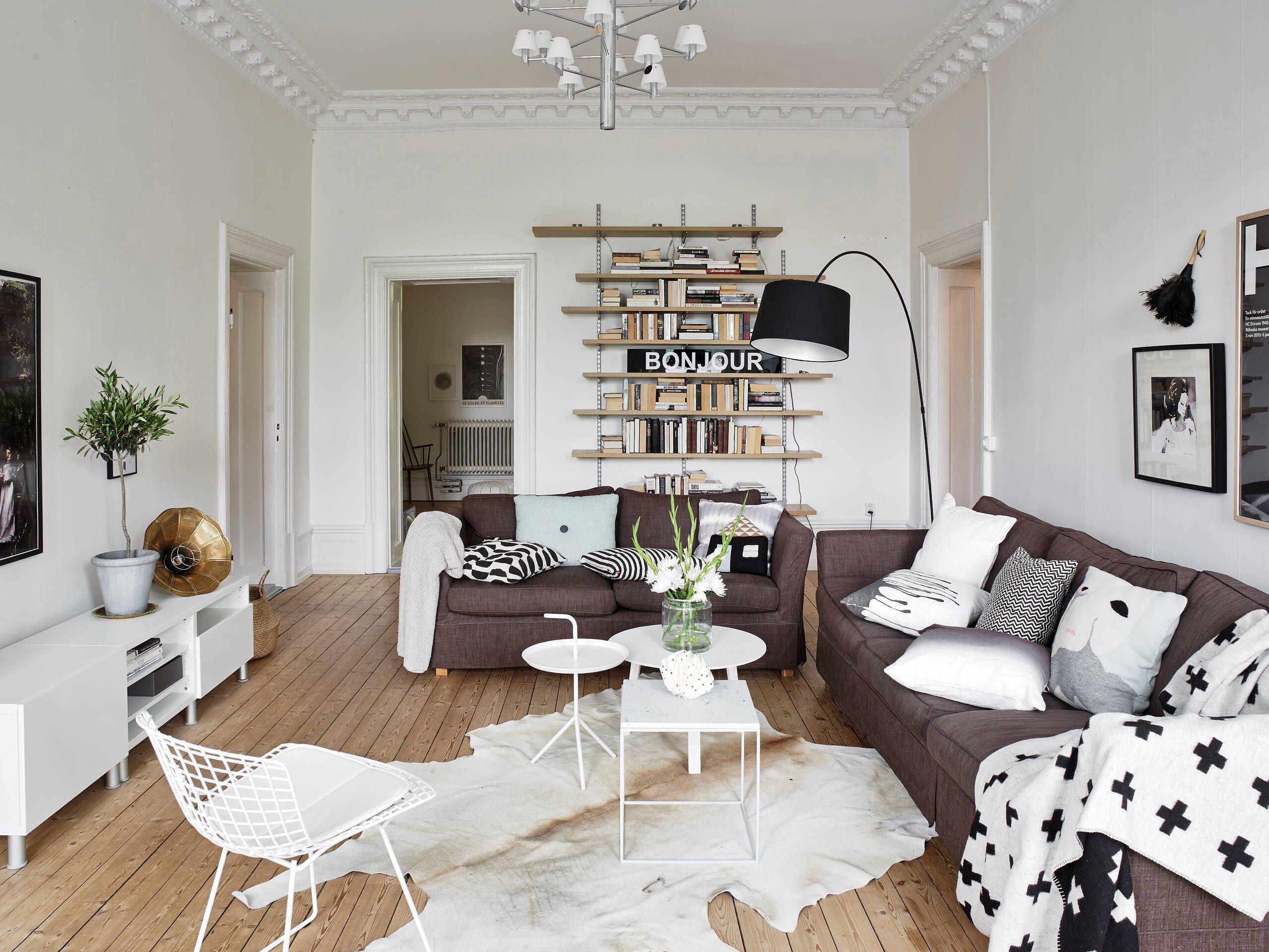 Brown sofa Decor livingroom Swedish home