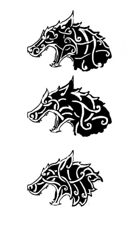 Celtic viking wolf tattoo design viking and celtic for Ragnar head tattoo stencil