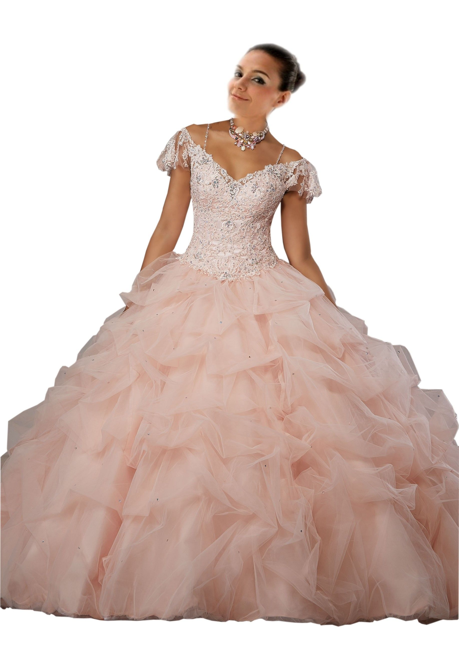 Blush Pink Ball Gowns For Girls ,Junior , Short Sleeves , beaded ...