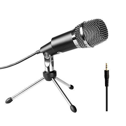 USB Microphone Stand Audio Recording Studio Gaming PC Desktop Computer 3.5mm Mic