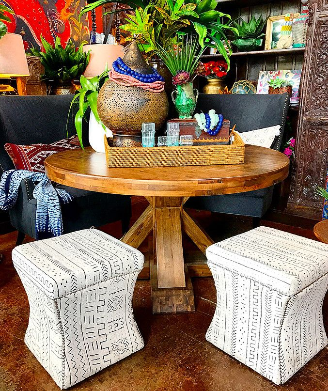 Wonderful Round Dining Table With African Mudcloth Stools And Piles Of Ethnic  Accessories Tierra Del Lagarto   Scottsdale Furniture Store