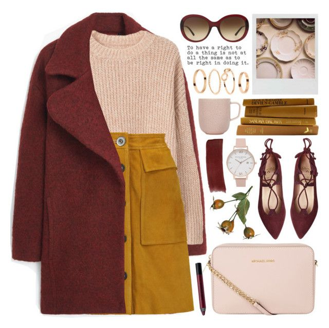"""suede mini skirt"" by jesuisunlapin ❤ liked on Polyvore featuring Burberry, MANGO, H&M, Polaroid, Urban Decay, M.i.h Jeans, MICHAEL Michael Kors, Gucci, iittala and balletflats"