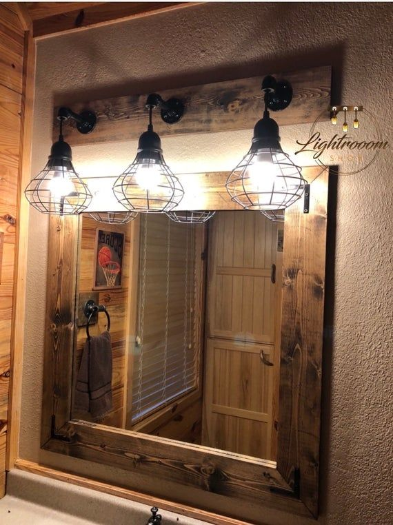 Photo of ESPRESSO Mirror And Light Set Bathroom Set Industrial | Etsy