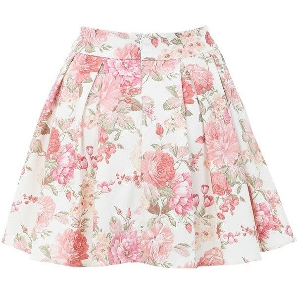Miss Selfridge Floral Print Skater Skirt found on Polyvore featuring women's fashion, skirts, pink circle skirt, floral printed skirt, floral skirt, floral skater skirt and miss selfridge skirts
